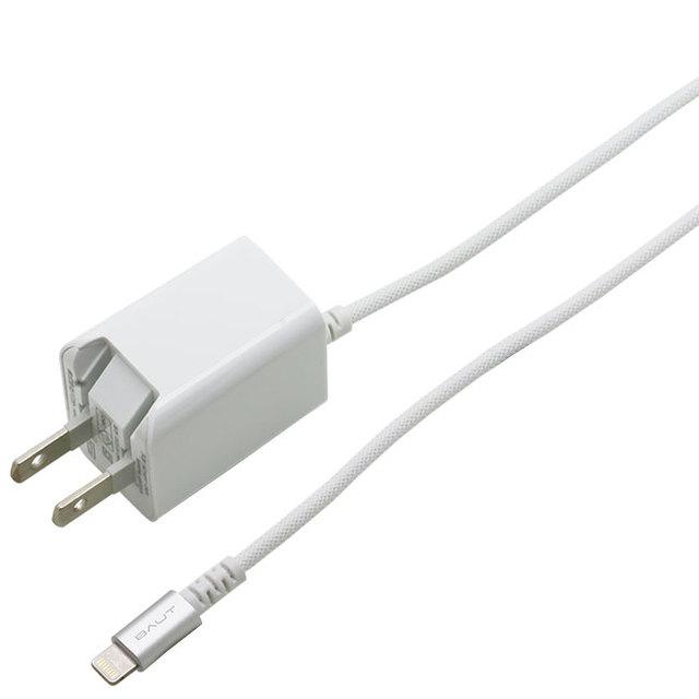 AC充電器Lightning アルミ ナイロンメッシュ 2.4A 2.5m